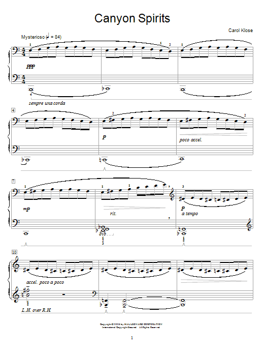 Partition piano Canyon Spirits de Carol Klose - Autre