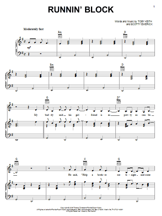 Partition piano Runnin' Block de Toby Keith - Piano Voix Guitare (Mélodie Main Droite)