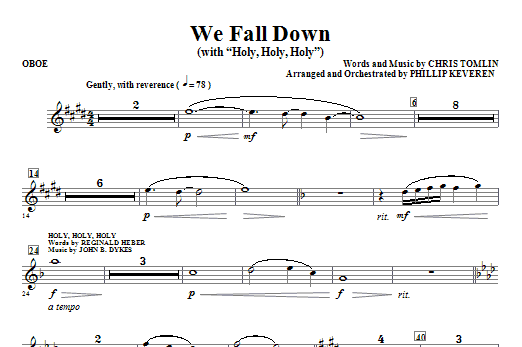 We Fall Down (with Holy, Holy, Holy) - Oboe Sheet Music