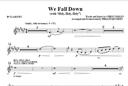We Fall Down (with Holy, Holy, Holy) - Bb Clarinet Sheet Music