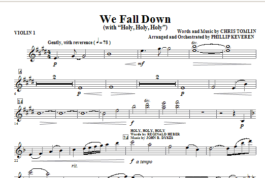 We Fall Down (with Holy, Holy, Holy) - Violin 1 Sheet Music