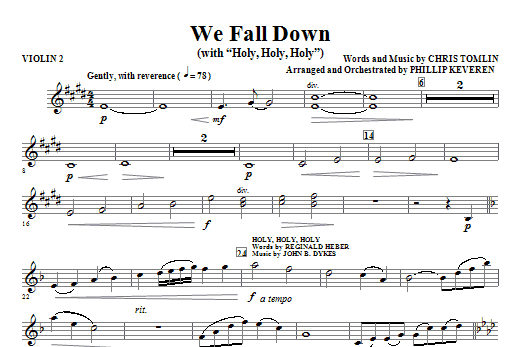 We Fall Down (with Holy, Holy, Holy) - Violin 2 Sheet Music