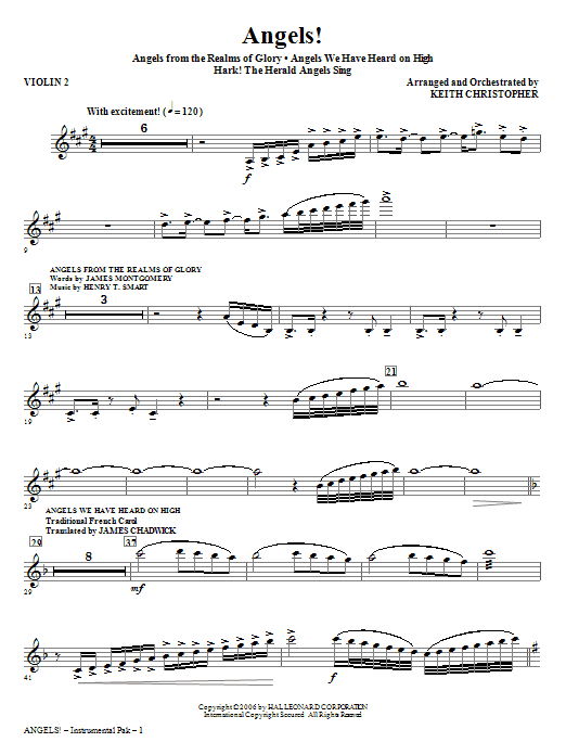 Angels! (Medley) - Violin 2 Sheet Music
