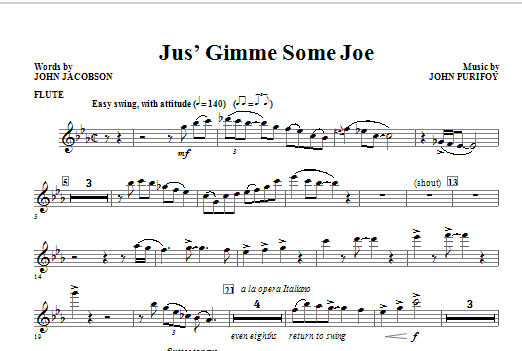 Jus' Gimme Some Joe! (complete set of parts) sheet music for orchestra/band (Rhythm) by John Jacobson and John Purifoy. Score Image Preview.