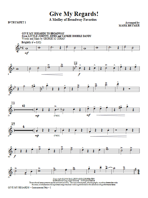 Give My Regards! A Medley Of Broadway Favorites (complete set of parts) sheet music for orchestra/band (chamber ensemble) by Mark Brymer. Score Image Preview.