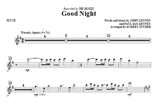 Good Night (complete set of parts) sheet music for orchestra/band (Special) by Audrey Snyder, John Lennon, Paul McCartney and The Beatles. Score Image Preview.