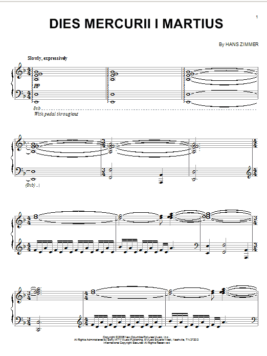 Partition piano Dies Mercurii I Martius (from The Da Vinci Code) de Hans Zimmer - Piano Solo