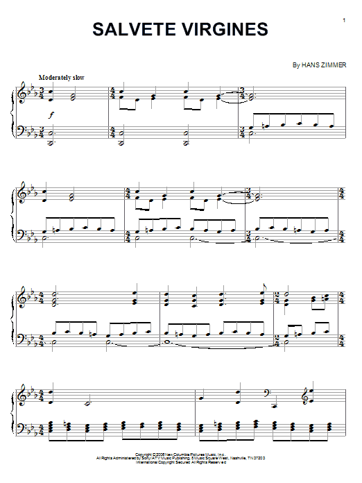 Salvete Virgines (from The Da Vinci Code) Sheet Music