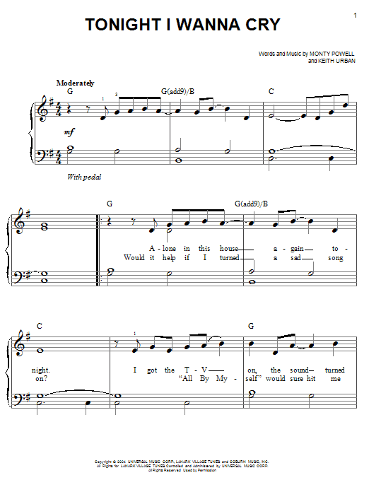 Piano urban piano chords : Tonight I Wanna Cry sheet music by Keith Urban (Easy Piano – 55788)