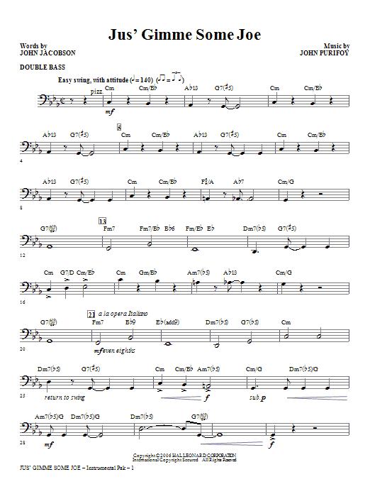 Jus' Gimme Some Joe! - Double Bass Sheet Music
