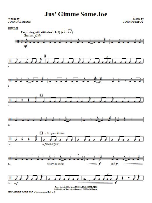 Jus' Gimme Some Joe! - Drums Sheet Music
