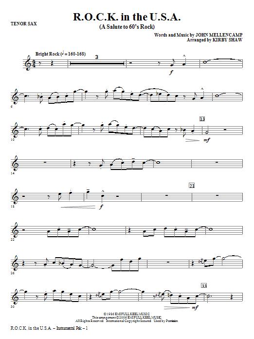 R.O.C.K. In The U.S.A. (A Salute To 60's Rock) - Tenor Sax (Choir Instrumental Pak)