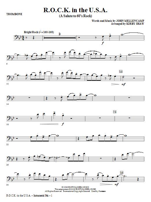 R.O.C.K. In The U.S.A. (A Salute To 60's Rock) - Trombone (Choir Instrumental Pak)