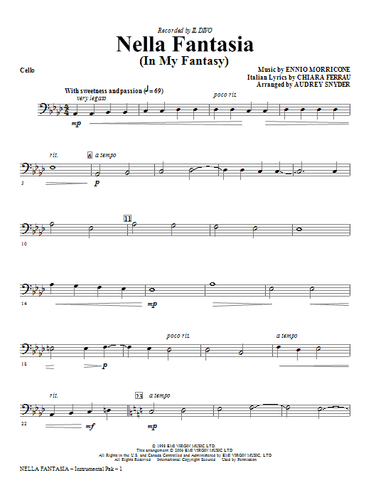 Nella Fantasia (In My Fantasy) (arr. Audrey Snyder) - Cello (Choir Instrumental Pak)
