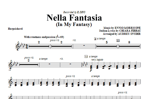Nella Fantasia (In My Fantasy) - Harpsichord Sheet Music