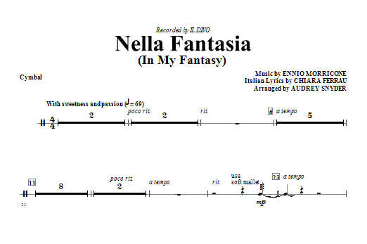 Nella Fantasia (In My Fantasy) - Cymbals Sheet Music