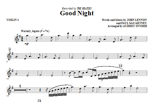 Good Night - Violin 1 Sheet Music