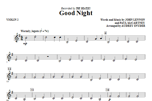 Good Night - Violin 2 Sheet Music