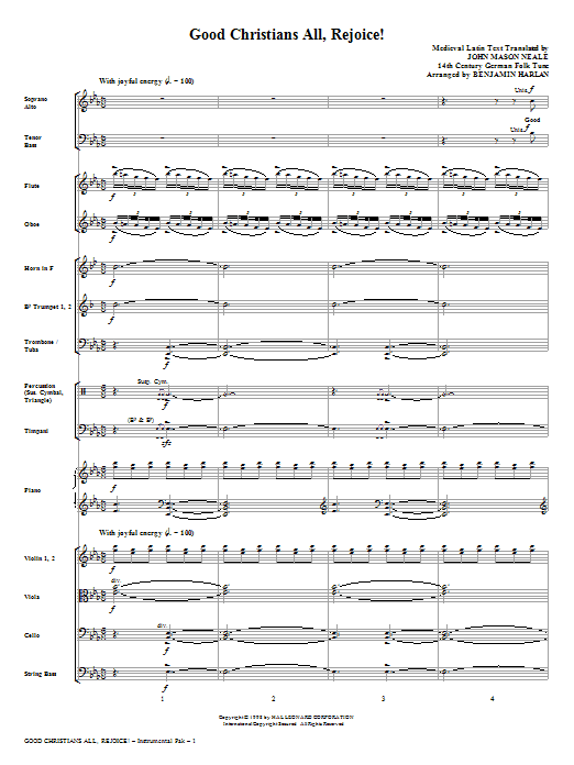 Good Christians All, Rejoice! (complete set of parts) sheet music for orchestra/band (Orchestra) by Benjamin Harlan, John Mason Neale and Medieval Latin. Score Image Preview.