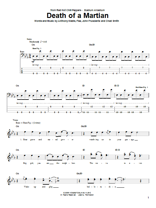 Tablature guitare Death Of A Martian de Red Hot Chili Peppers - Tablature Basse