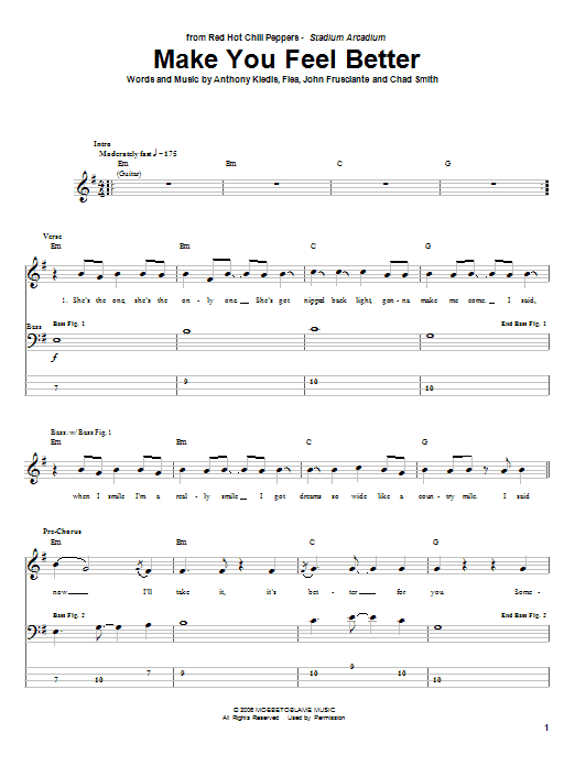 Tablature guitare Make You Feel Better de Red Hot Chili Peppers - Tablature Basse