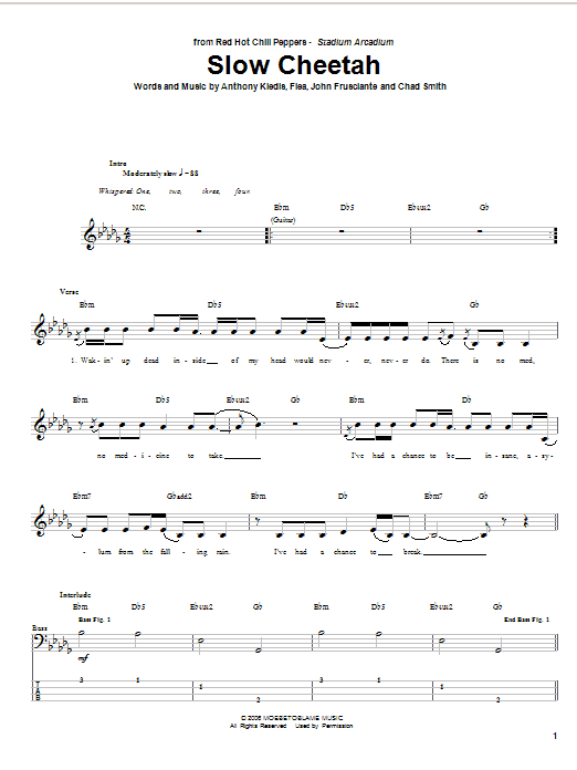 Tablature guitare Slow Cheetah de Red Hot Chili Peppers - Tablature Basse