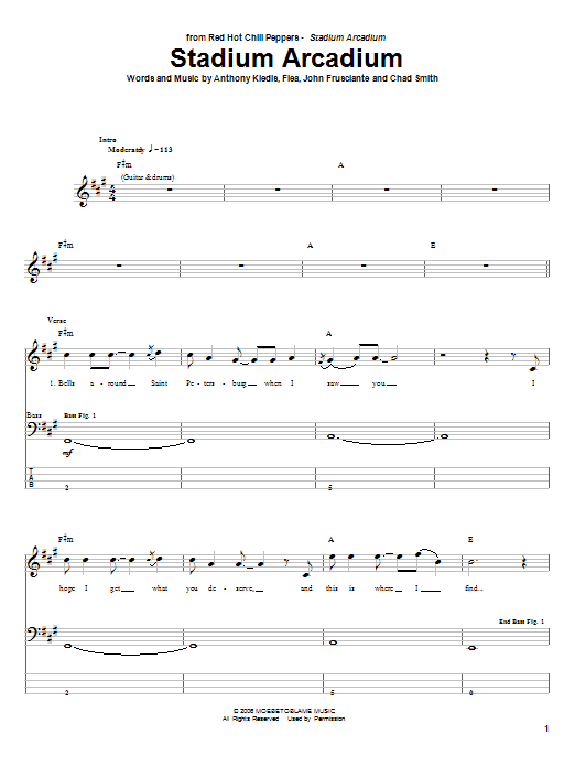 Tablature guitare Stadium Arcadium de Red Hot Chili Peppers - Tablature Basse