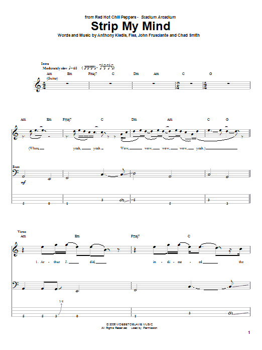 Tablature guitare Strip My Mind de Red Hot Chili Peppers - Tablature Basse
