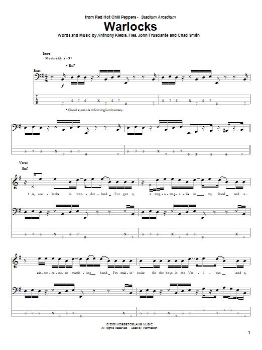Tablature guitare Warlocks de Red Hot Chili Peppers - Tablature Basse
