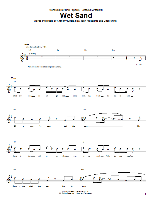 Tablature guitare Wet Sand de Red Hot Chili Peppers - Tablature Basse