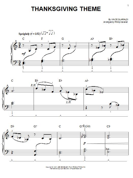Partition piano Thanksgiving Theme de Vince Guaraldi - Piano Facile
