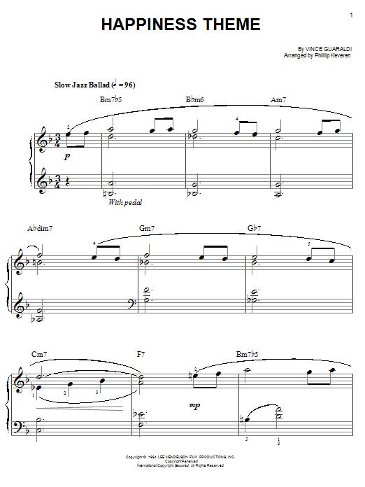 Partition piano Happiness Theme de Vince Guaraldi - Piano Facile