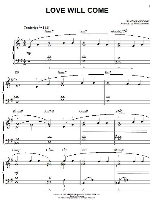 Partition piano Love Will Come de Vince Guaraldi - Piano Facile