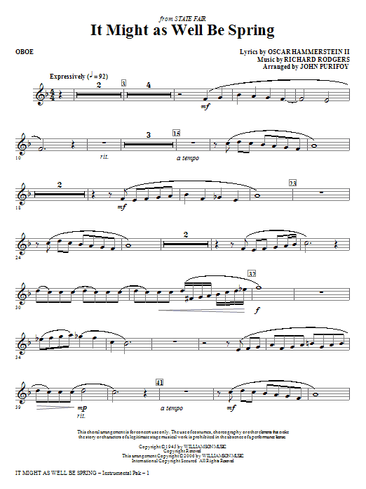 It Might As Well Be Spring - Oboe Sheet Music