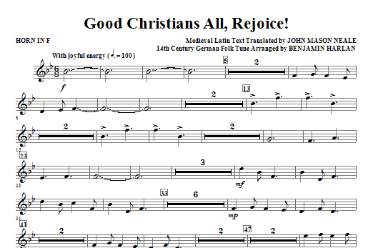Good Christians All, Rejoice! - Horn in F Sheet Music