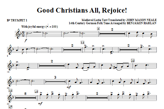 Good Christians All, Rejoice! - Bb Trumpet 1 Sheet Music