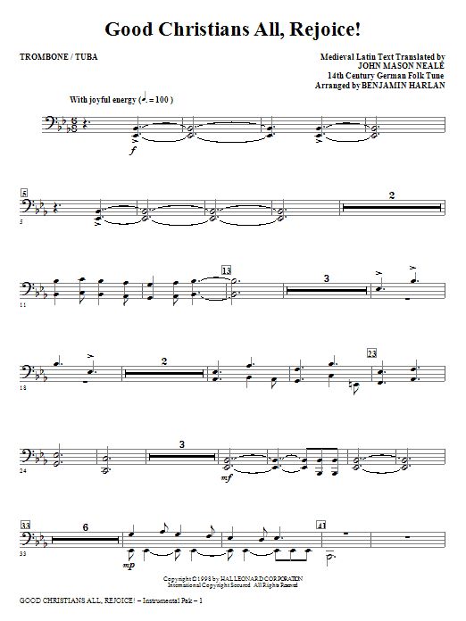 Good Christians All, Rejoice! - Trombone/Tuba Sheet Music