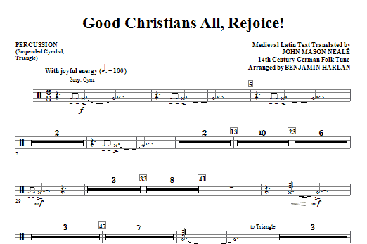 Good Christians All, Rejoice! - Percussion Sheet Music