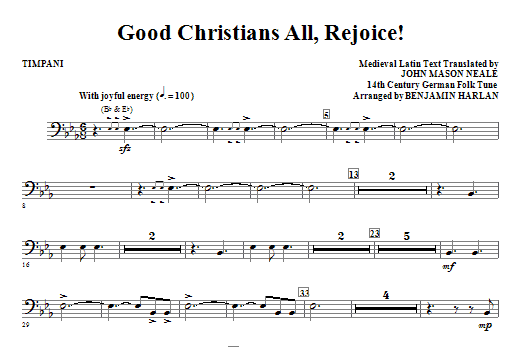 Good Christians All, Rejoice! - Timpani Sheet Music