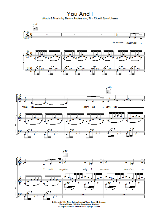 You And I (from Chess) Sheet Music