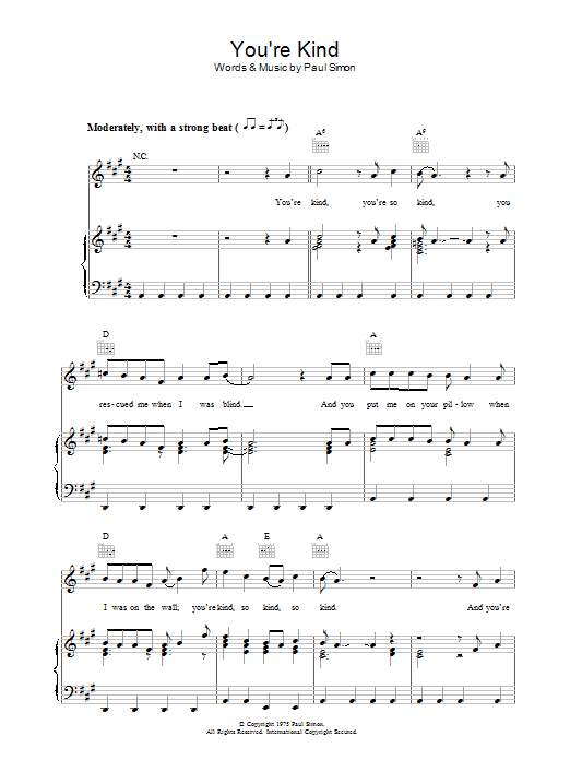 You're Kind Sheet Music