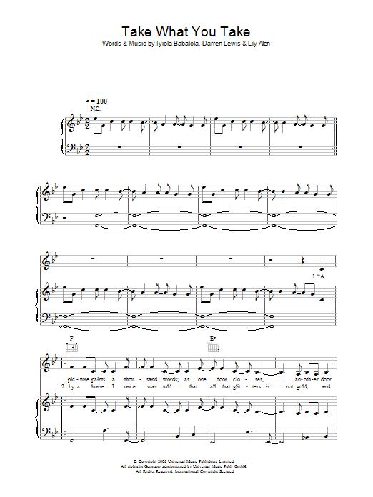 Take What You Take (Piano, Vocal & Guitar)