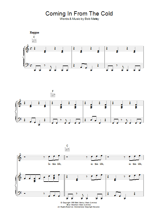 Coming In From The Cold Sheet Music