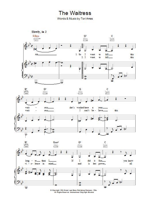 The Waitress Sheet Music