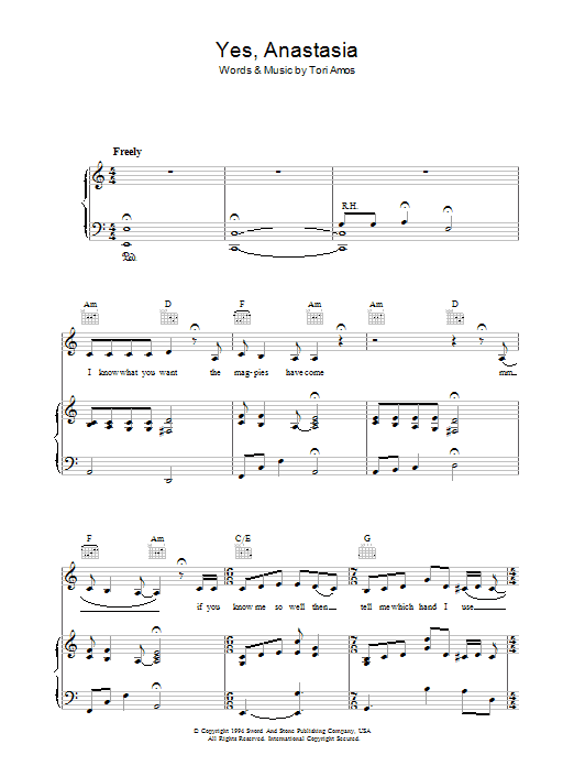 Yes, Anastasia Sheet Music