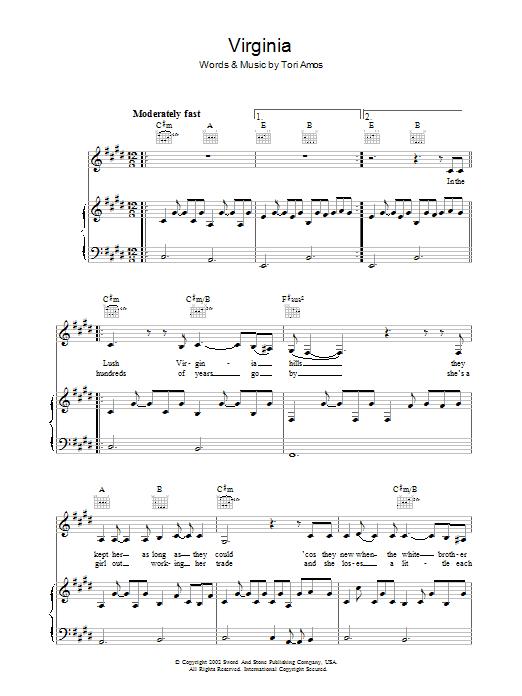 Virginia (Piano, Vocal & Guitar)