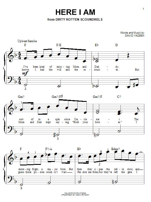 Partition piano Here I Am de David Yazbek - Autre