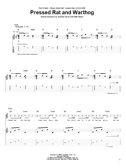 Tablature guitare Pressed Rat And Warthog de Cream - Tablature Guitare