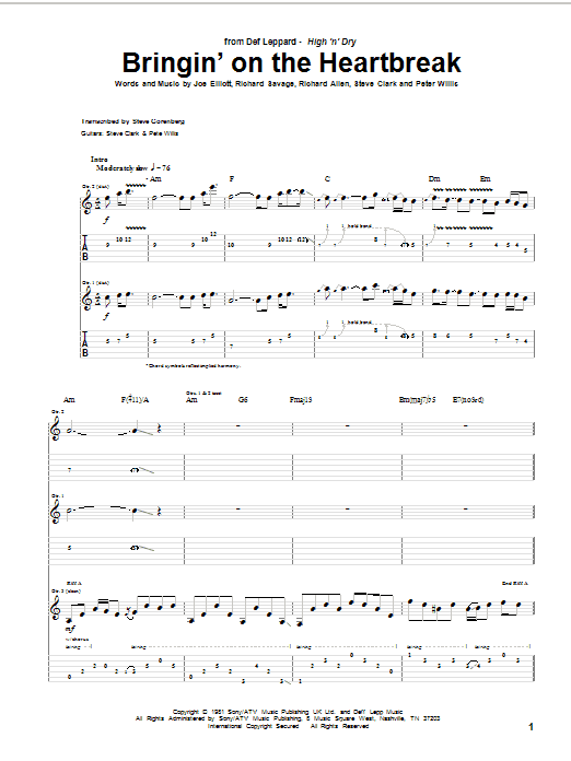 Tablature guitare Bringin' On The Heartbreak de Def Leppard - Tablature Guitare