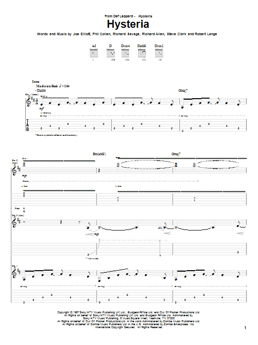 Tablature guitare Hysteria de Def Leppard - Tablature Guitare